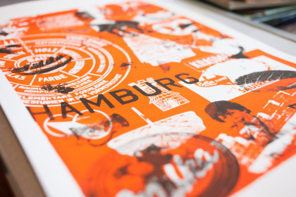 Screen print of German motifs